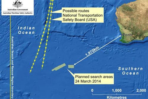 Khu vực tìm kiếm MH370 ngày hôm nay. Đồ họa: AMSA