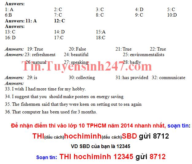 Đáp án vào lớp 10 môn Tiếng Anh TPHCM năm 2014