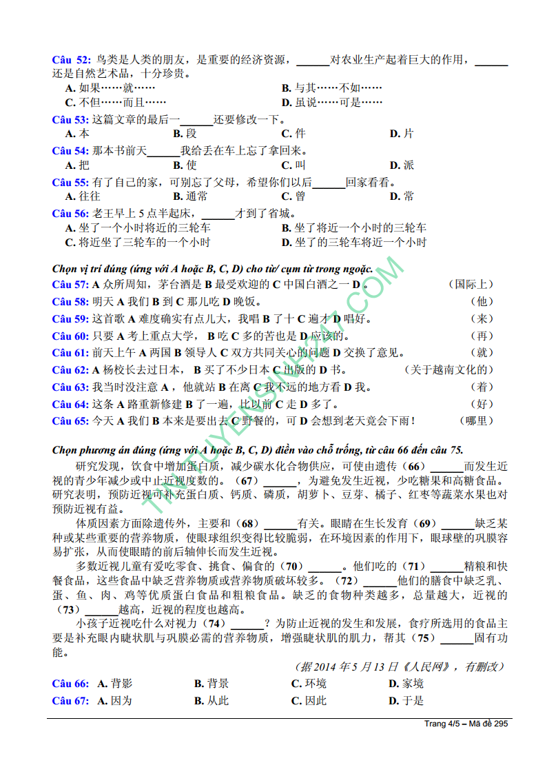 Dap an de thi mon Tieng Trung khoi D nam 2014 cua Bo GD&DT
