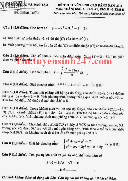 Đáp án đề thi cao đẳng môn Toán năm 2014 khối A, A1, B, D