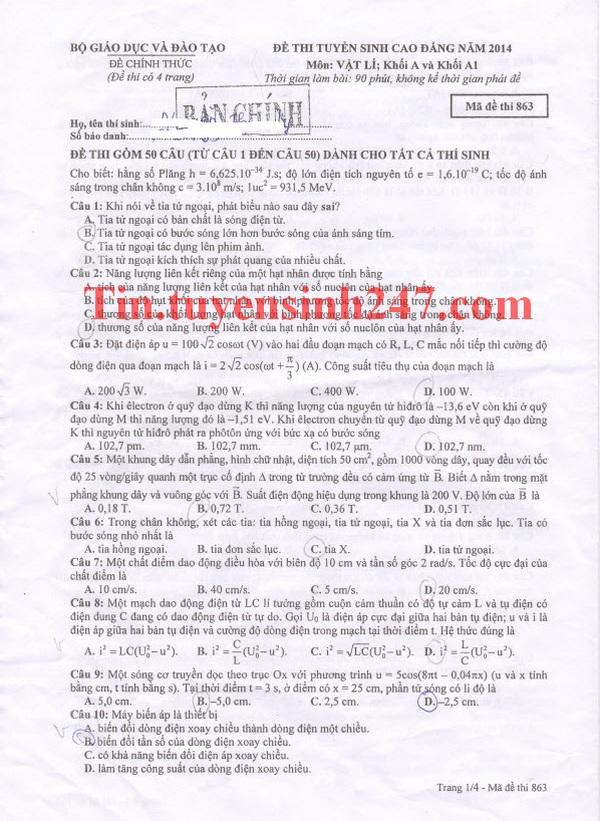 Gợi ý giải đề thi cao đẳng môn Lý năm 2014 mã đề 863