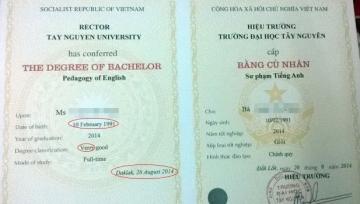 Bất ngờ bằng tốt nghiệp Đại học Tây Nguyên sai chính tả
