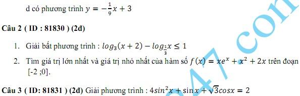 De thi thu THPT Quoc gia mon Toan 2015 THPT Quang Xuong