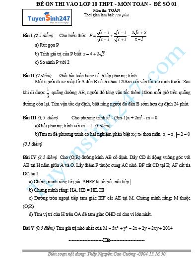 Đề thi thử vào lớp 10 năm 2015 - Thầy Nguyễn Cao Cường (Có Video chữa)