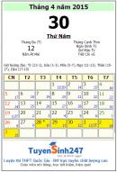 Lịch nghỉ 30/04 và 1/5 của công chức năm 2015