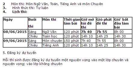 Tuyển sinh vào lớp 10 THPT chuyên Hà Giang 2015