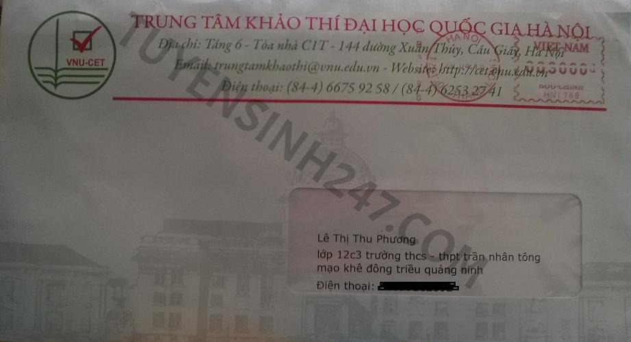 Trường ĐH quốc gia Hà Nội bắt đầu gửi giấy báo dự thi
