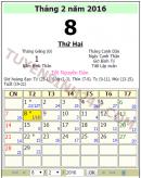 Tết âm lịch năm 2016 vào ngày nào dương lịch