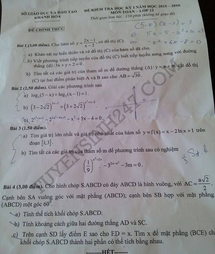 Đề thi học kì 1 lớp 12 môn Toán 2015 Khánh Hòa (Có đáp án)
