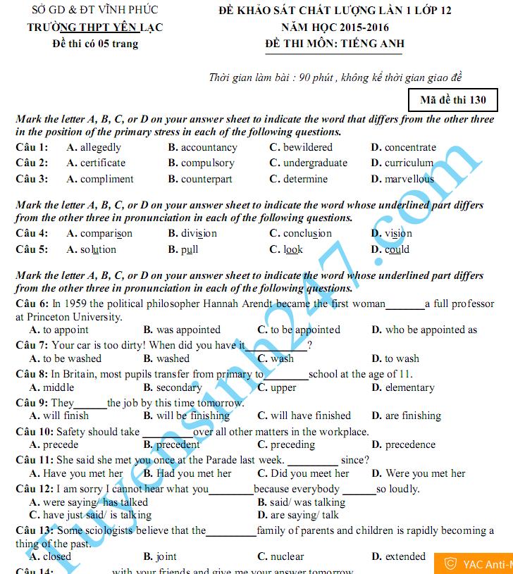 Đề thi thử THPT Quốc gia môn Anh 2016 - THPT Yên Lạc
