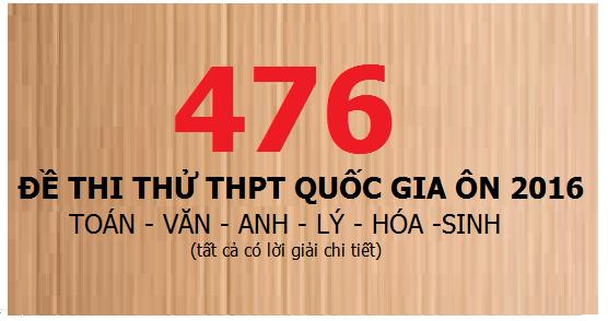 476 đề thi thử thpt quốc gia Toán, Văn, Anh, Lý, Hóa, Sinh