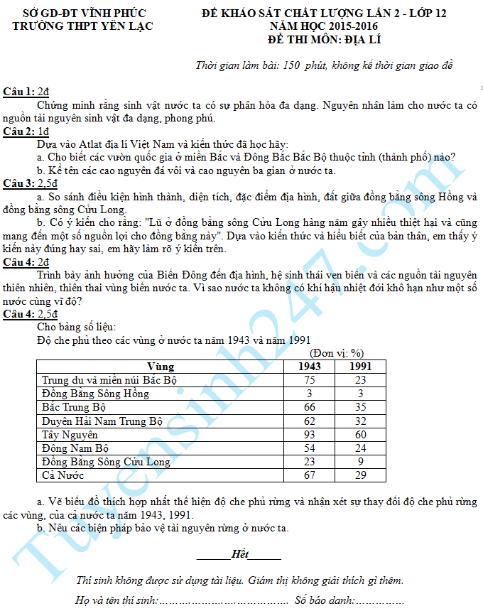 Đề thi thử THPT Quốc gia môn Địa THPT Yên Lạc 2016 - Lần 2