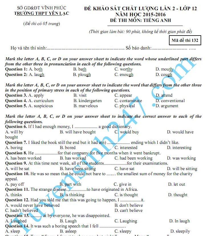 Đề thi thử THPT Quốc gia năm 2016 môn Anh THPT Yên Lạc - Lần 2
