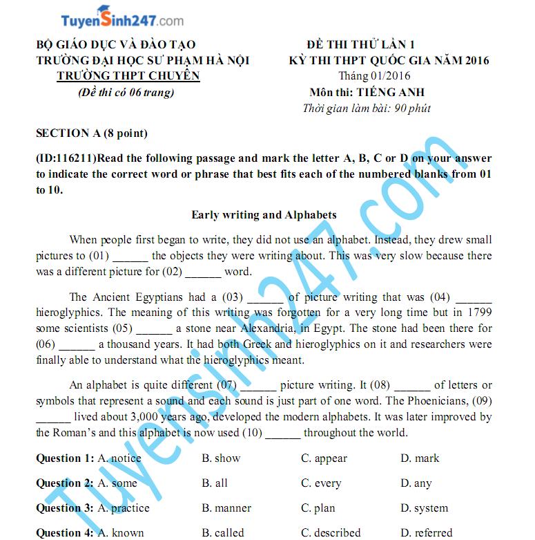 Đề thi thử THPTQG môn Anh 2016 - THPT chuyên ĐH sư Phạm HN lần 1