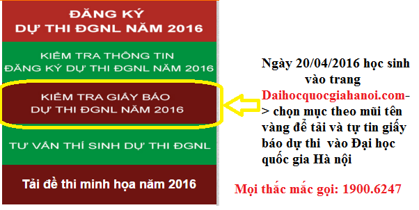Khi nào Đại học quốc gia Hà Nội gửi giấy báo dự thi?