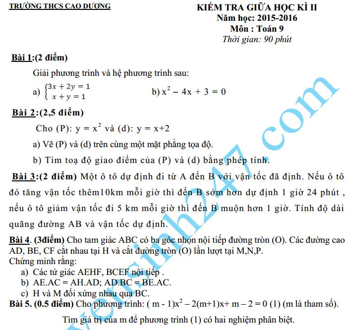 Đề thi giữa học kì 2 lớp 9 môn Toán 2016 – THCS Cao Dương