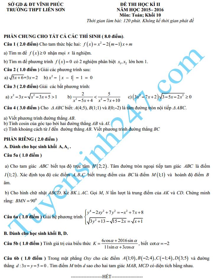 Đề thi học kì 2 năm 2016 lớp 10 môn Toán THPT Liễn Sơn
