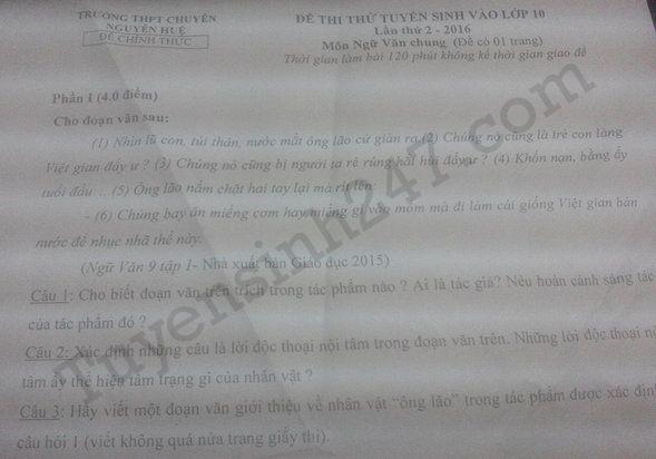Đề thi thử vào lớp 10 môn Văn THPT chuyên Nguyễn Huệ 2016 - Lần 2