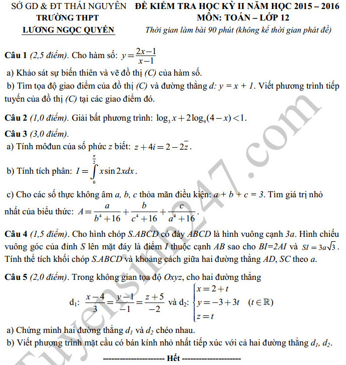 Đề thi học kì 2 lớp 12 môn Toán 2016 –THPT Lương Ngọc Quyến