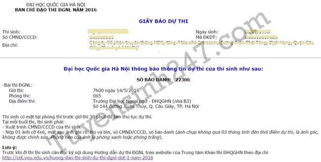 Hướng dẫn kiểm tra Giấy báo dự thi Đại học Quốc gia Hà Nội 2016