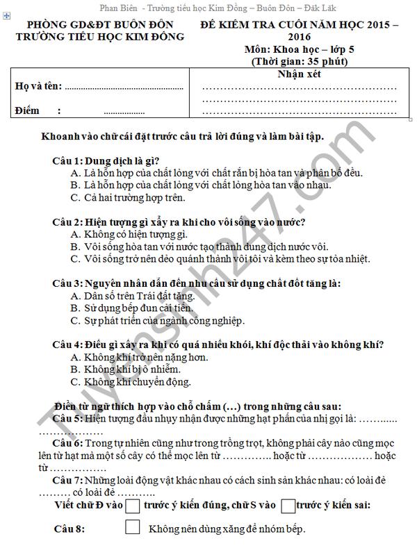 Đề thi học kì 2 lớp 5 môn Tiếng Việt - TH Kim Đồng 2016