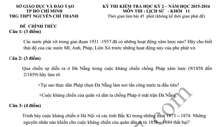 Đề thi học kì 2 lớp 11 môn Sử 2016 – THPT Nguyễn Chí Thanh