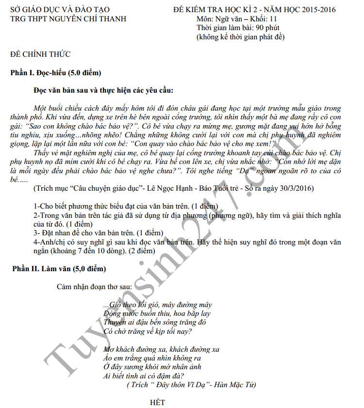 Đề thi học kì 2 môn Văn 11 năm 2016 - THPT Nguyễn Chí Thanh