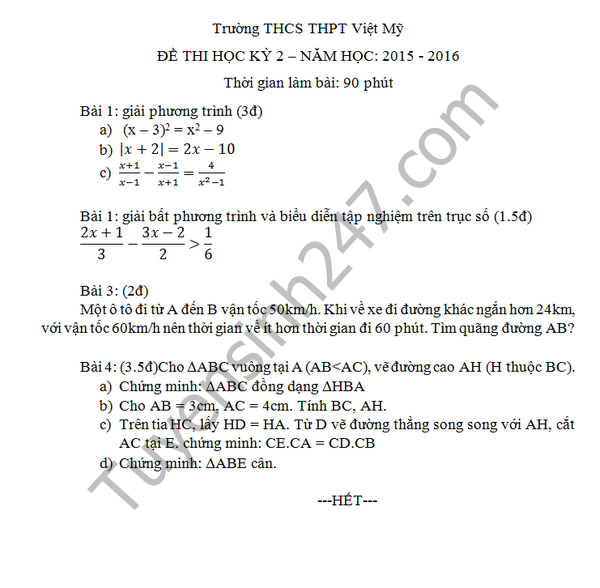 Đề thi học kì 2 lớp 8 môn Toán - THCS Việt Mỹ 2016