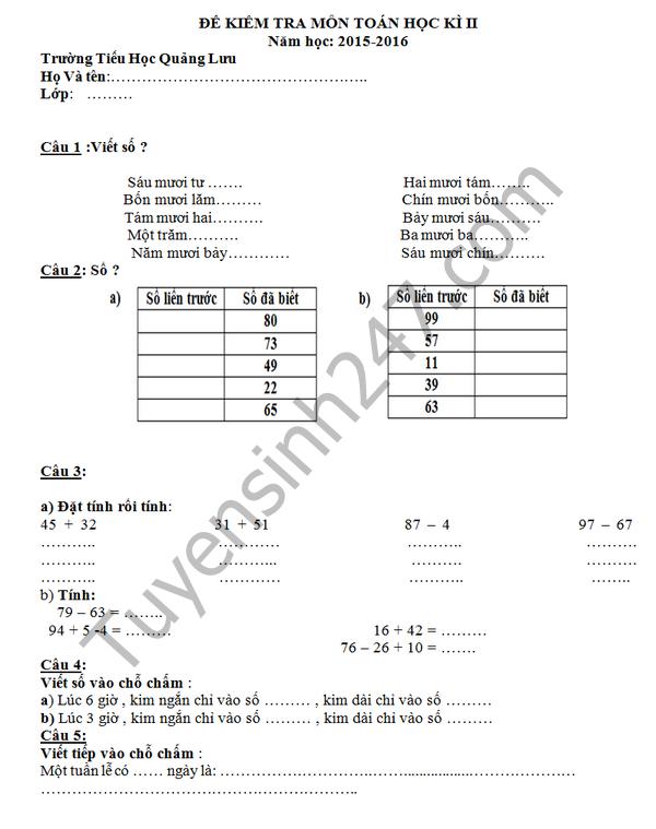 Đề thi học kì 2 lớp 1 môn Toán - TH Quảng Lưu 2016