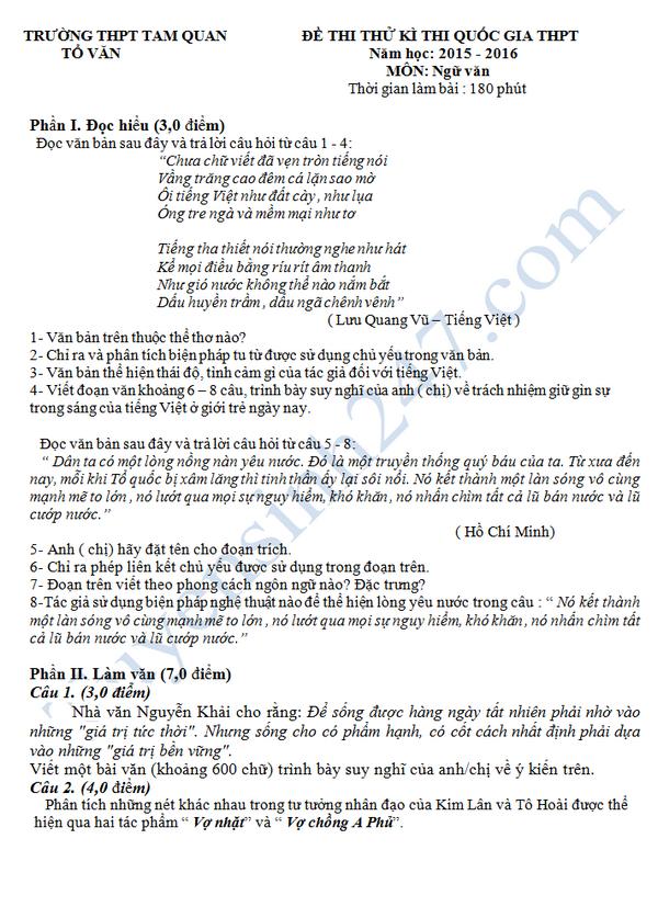 Đề thi thử THPT QG 2016 môn Văn - THPT Tam Quan