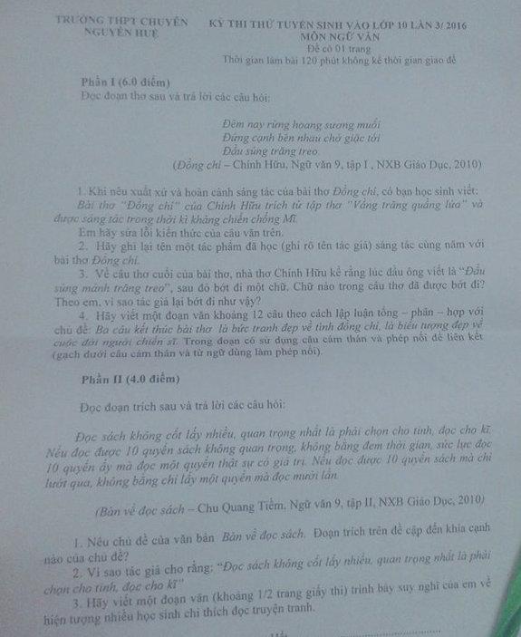 Đề thi thử vào lớp 10 môn Văn THPT chuyên Nguyễn Huệ 2016 lần 3