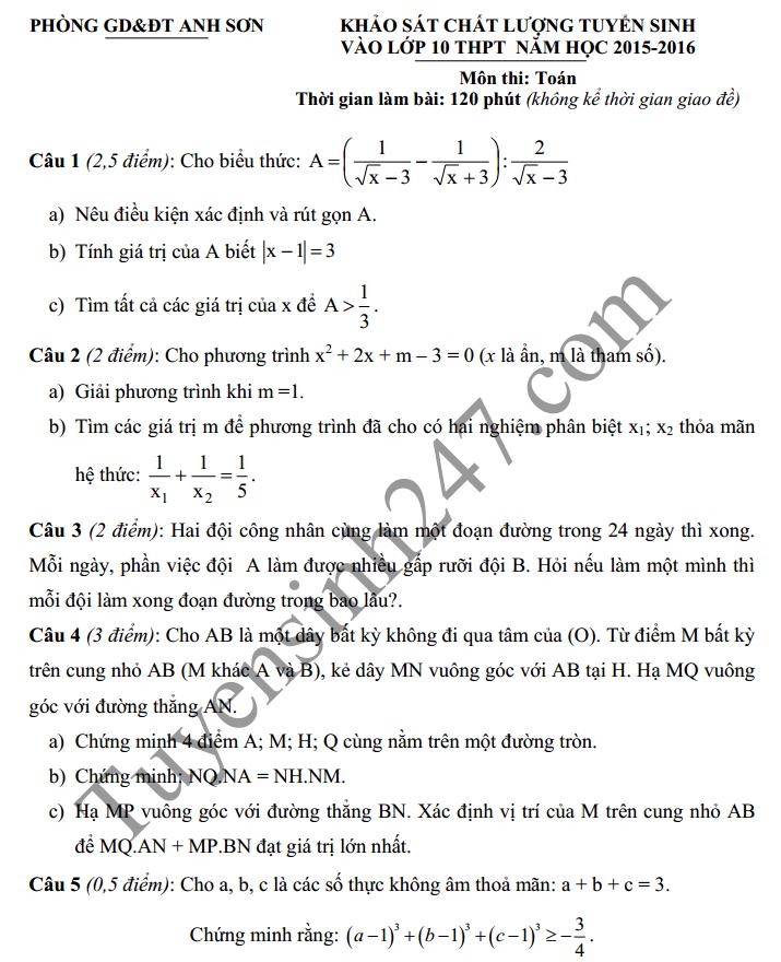 Đề thi thử vào lớp 10 môn Toán - THCS Anh Sơn 2016