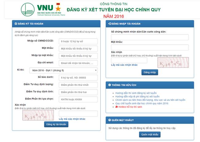 Đại học Quốc gia Hà Nội nhận hồ sơ xét tuyển đợt 1 năm 2016