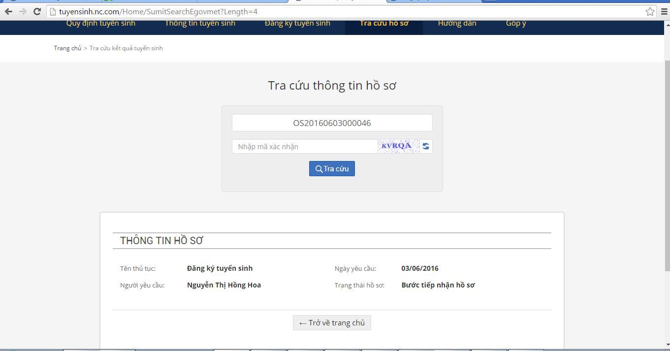 Huong dan tra cuu ket qua tuyen sinh tren tsdaucap.hanoi.gov.vn/