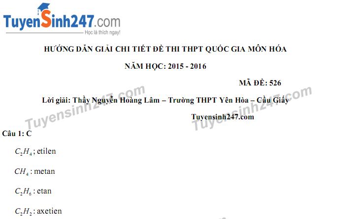 Lời giải chi tiết thi THPTQG môn Hóa 2016 thầy Nguyễn Hoàng Lâm