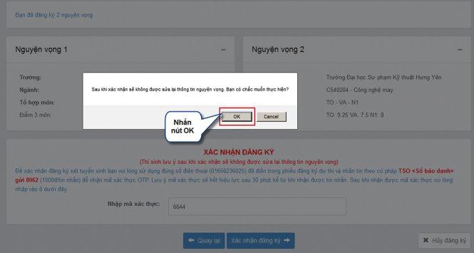 Quy trình nộp hồ sơ đăng ký xét tuyển trực tuyến