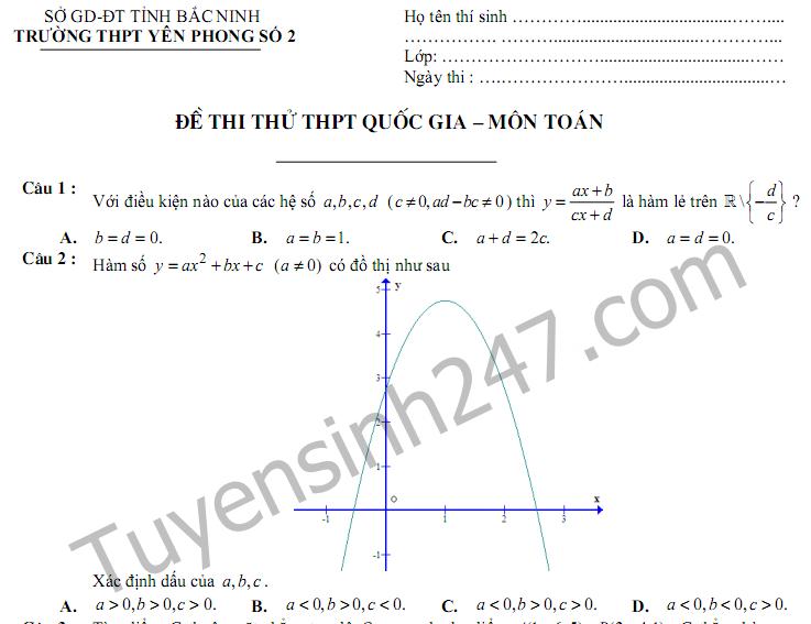 Đề thi thử THPTQG trắc nghiệm môn Toán 2017 - THPT Yên Phong