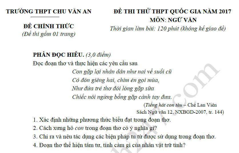 Đề thi thử THPTQG môn Ngữ Văn - THPT Chu Văn An