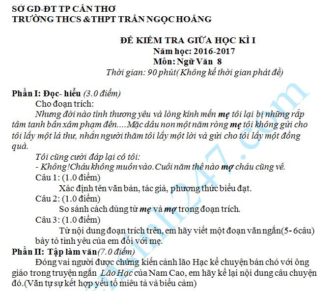 Đề thi giữa học kỳ 1 môn Văn 8 - THCS Trần Ngọc Hoằng 2016