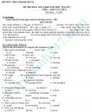 Đề thi giữa học kì 1 Anh lớp 8 - THCS Khánh Hưng 2016