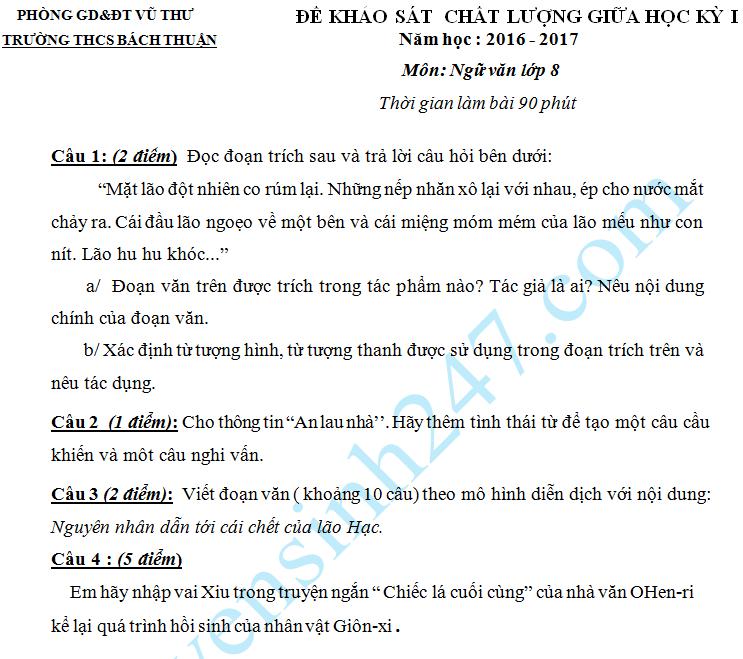 Đề thi giữa học kì 1 năm 2016 môn Văn 8 - THCS Bách Thuận