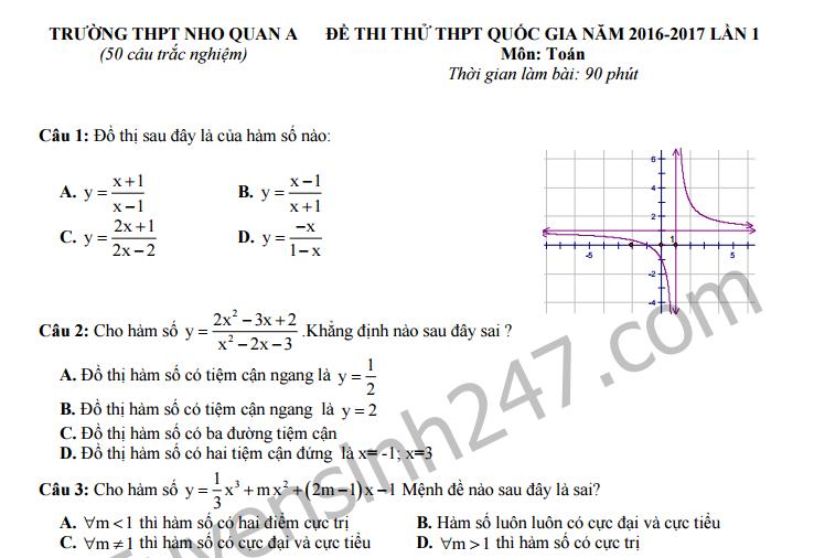 Đề thi thử THPT Quốc gia môn Toán - THPT Nho Quan A lần 1 năm 2017