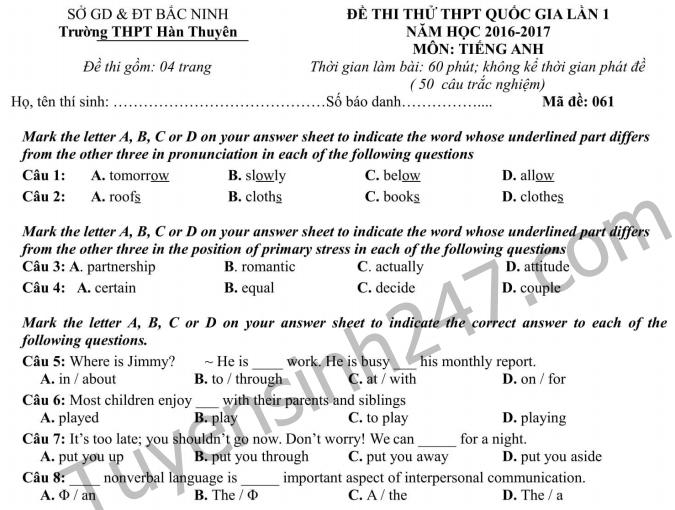 Đề thi thử THPT Quốc gia môn Anh 2017 THPT Hàn Thuyên