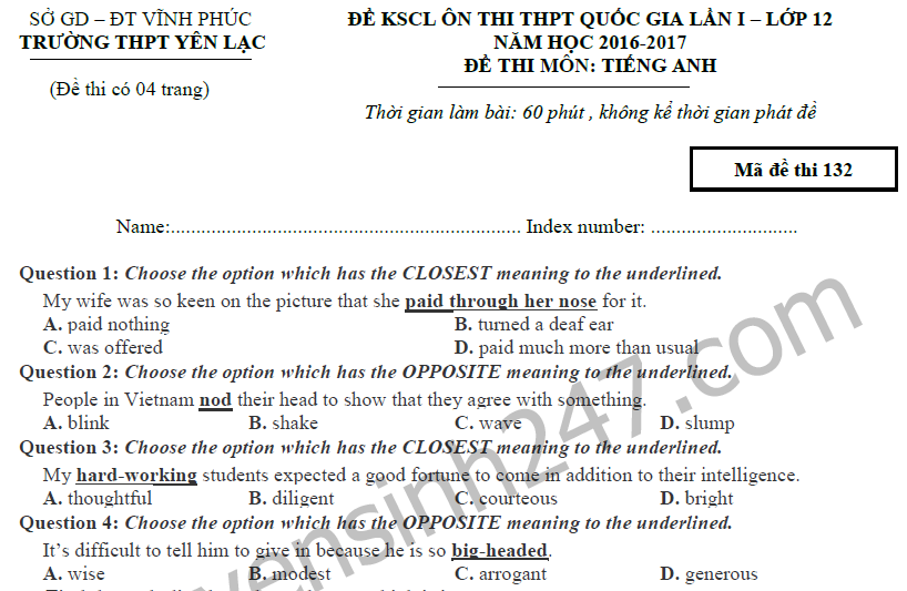 Đề thi thử THPTQG môn Tiếng Anh - THPT Yên Lạc 2017 lần 1