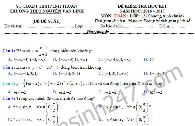 Đề thi học kì 1 môn Toán lớp 12 - THPT Nguyễn Văn Linh 2016