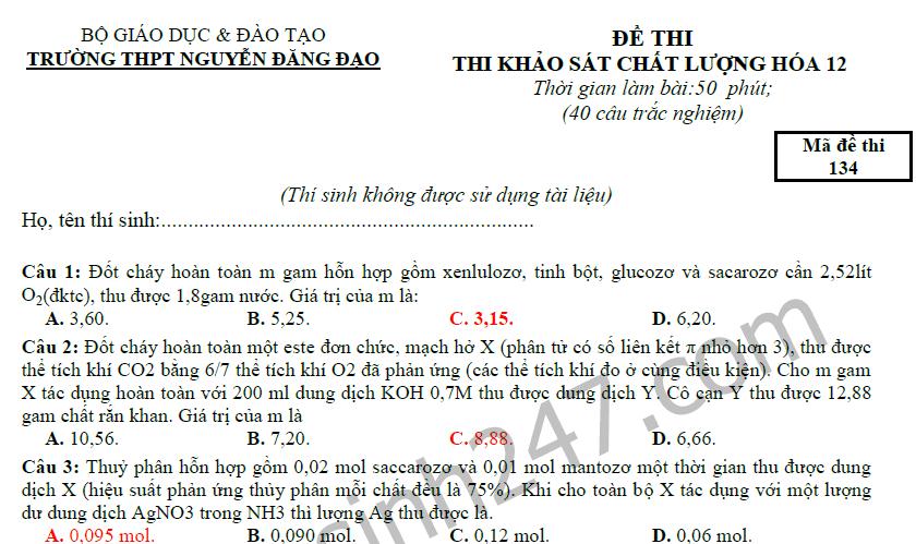 Đề thi thử THPT Quốc gia 2017 môn Hóa- THPT Nguyễn Đăng Đạo