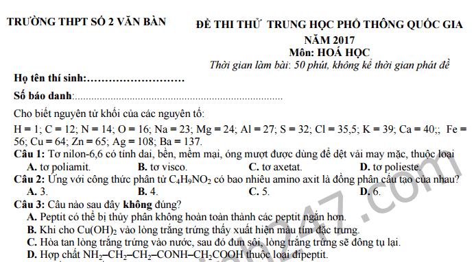 Đề thi thử THPT Quốc gia 2017 môn Hóa- THPT Số 2 Văn Bàn