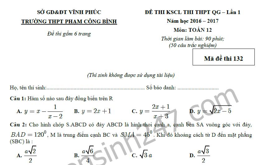 Đề thi thử THPTQG 2017 môn Toán - THPT Phạm Công Bình lần 1