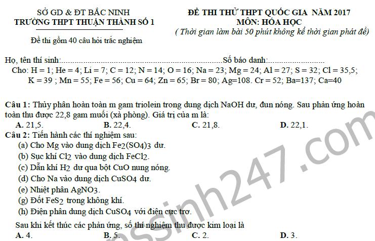 Đề thi thử THPT Quốc gia 2017 môn Hóa - THPT Thuận Thành 1