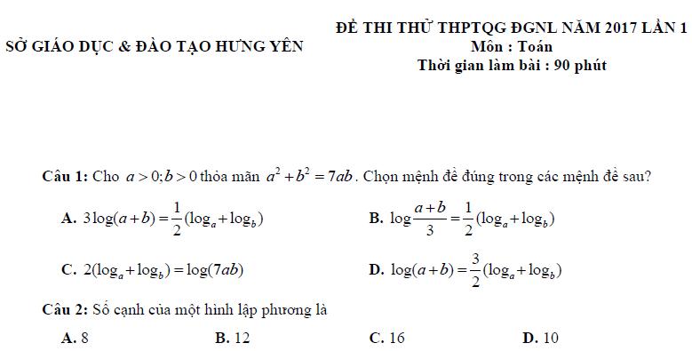 Đề thi thử THPT Quốc gia 2017 môn Toán - Sở GDĐT Hưng Yên
